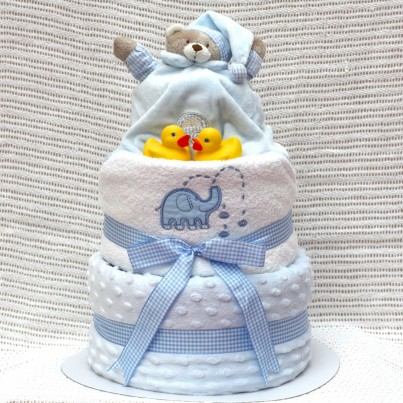 Beautifully finished with blue dotted clear celophane, gingham bow and curling ribbon.
