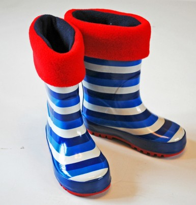 Childrens red and navy welly warmas