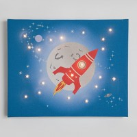 Space Rocket Illuminated Canvas Night Light