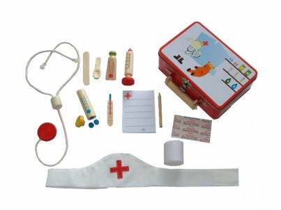 Childrens Wooden Nurses Dressing Up Outfit & Medical Set