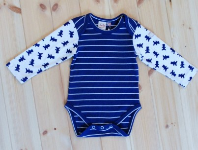 Baby Blue Body with Teddy Patterned Long Sleeves