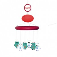 MyMo: Baby mobile with MP3 player and voice recorder (Red wood with robot theme characters)