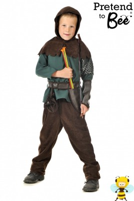 Be your very own Russell Crowe from Hollywood's most recent Robin Hood film.   Green long sleeve top with Velcro fastening. Brown suede hooded shoulder cape, with matching trouser. Featuring leatherette belt and knife holder with money pouch attached to belt.