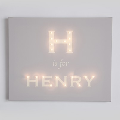 Personalised Alphabet MODERN FONT Illuminated Canvas Night Light
