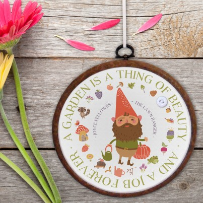 Garden personalised embroidery hoop print