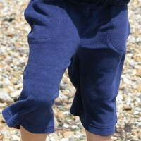 Navy Plain Towelling Long Shorts With Pockets