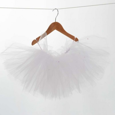 A handmade tutu which all little ballerinas would love. They poof up so that all babies/children look like they belong in 'Swan Lake'. This tutu is made from between 8 and 12 metres of soft white tulle and little pink sequines scattered around the tutu. They are hand tied. Tutu sizes: (These will have a 5-10cm stretch ability) XS: 38-40cm waist (0-6 months) S: 43-46cm waist (6-12 months) M: 48-51cm waist (12-24 months) L: 51-54cm waist (2-3 years) Please wipe down only. Gift wrapped in pink tissue paper and ribbons. Handmade in England.