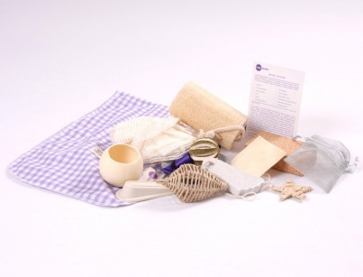The contents of the Natural Top-Up Set in their bag with Activity Card