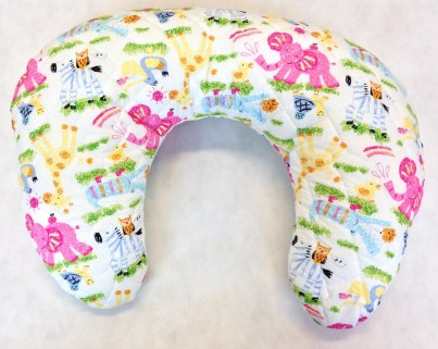 Multi Purpose Nursery & Feeding Cushion - Owls in the Jungle PINK for a girl - ideal baby shower gift