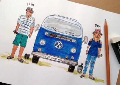 Watercolour with Campervan