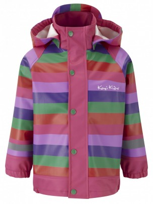 Koster Rain Jacket Unlined Pink/Lilac/Green Stripe