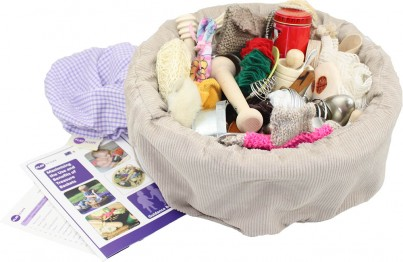The large Treasure Basket contains 48 carefully selected sensory-rich items each chosen for their sensory appeal, safety and curriculum links.  Includes hand-stitched gingham cover, guidance booklet and contents list.
