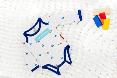 Boats and Whales Organic Cotton Baby Vest