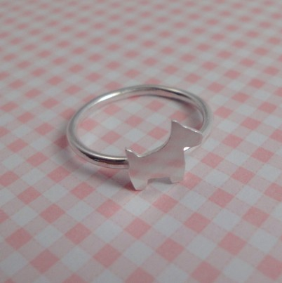 Childrens Silver Scottie Dog Ring