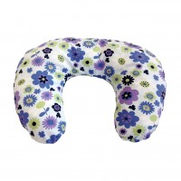 Multi Purpose Nursery & Feeding Cushion - FLOWER POWER design blue & lilac