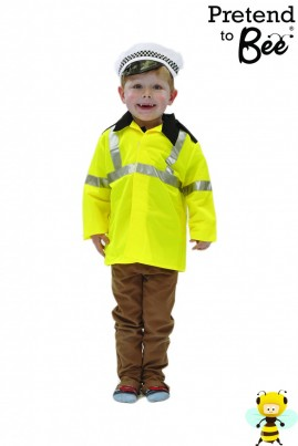 "Stop! Police!  Velcro-Fastened Fluorescent Jacket with Reflective Tape, star-trimmed epaulettes, and printed ""POLICE"" on back, with cap.  Remember to Watch Your Speed...       Si Stop! Police!  Velcro-Fastened Fluorescent Jacket with Reflective Tape, star-trimmed epaulettes, and printed ""POLICE"" on back, with cap.  Remember to Watch Your Speed..."