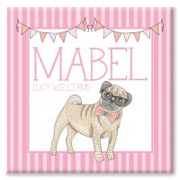 Candy Stripe Pug Personalised Canvas