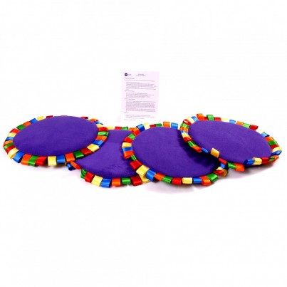 Set of 4 sensory stimulating ribbon-edged mats & A5 Activity Card