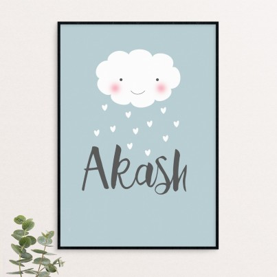 'Raining Love' - personalised word art poster print
