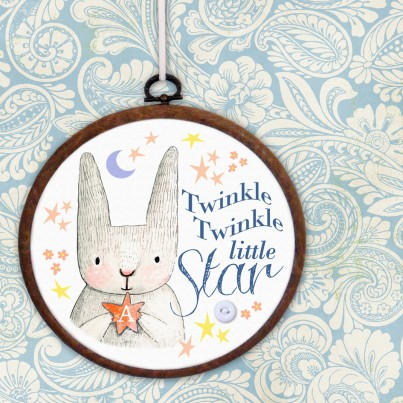 Twinkle Twinkle Little Star personalised embroidery hoop print