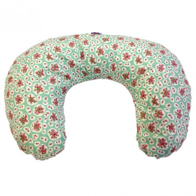 Multi Purpose Nursery & Feeding Cushion - APRIL COTTAGE Green / Pink floral design - vintage & retro