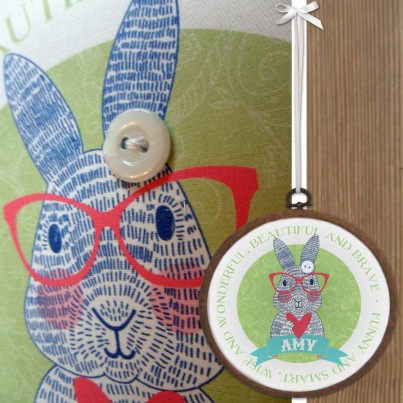 Spectacled Rabbit personalised embroidery hoop print