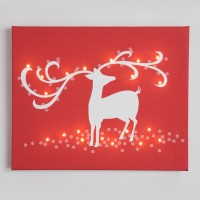 reindeer red illuminated canvas night light
