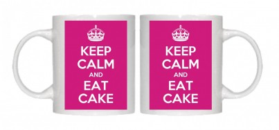 Keep Calm and Eat Cake Mug Personalised With Your Own Text If Preferred