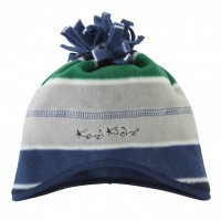 Microfleece Hat Blue/Green/Grey Stripe
