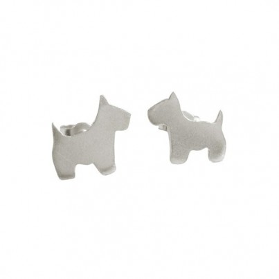 Silver Scottie Dog Stud Earrings