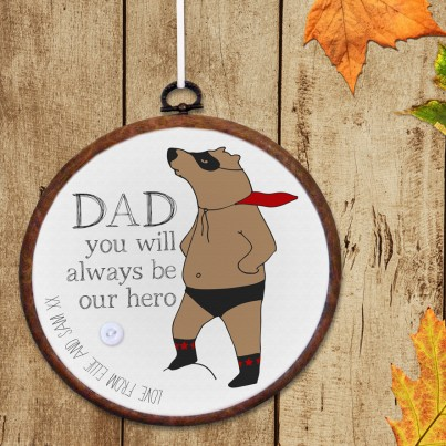 Superbear personalised embroidery hoop print