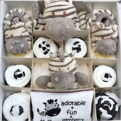 Zebra cupcake gift set - Super Deluxe in 0-3 or 3-6 months