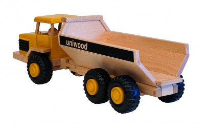 Uniwood Big 6 wheeled  Dumper wooden toy truck U14008 rear
