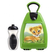 Green lunchbox with tiger