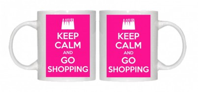 Keep Calm and Go Shopping Mug Personalised With Your Own Text If Preferred