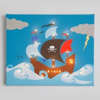 Pirate Ship Illuminated Canvas Night Light