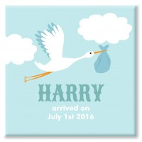 Stork Personalised Canvas christening gift (blue)