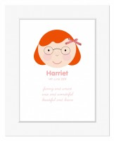 Happy Face Personalised Print (Girl)