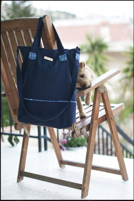 COTTON HANDBAG NAVY BLUE