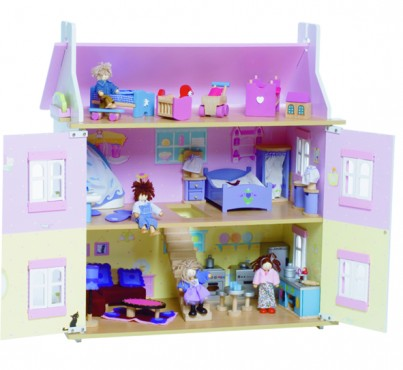 Lavender Dolls House with Furniture