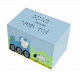 TRAIN WOODEN MONEY BOX