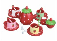 Strawberry Design - Wooden 16 Piece Tea Set