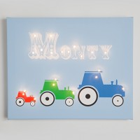 Personalised Tractor Illuminated Canvas Night Light