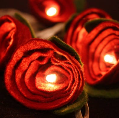 Red Felt Rose Fairy Lights
