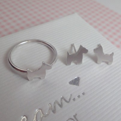 Childrens Silver Scottie Dog Ring & Stud Earrings Set