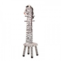 Teamson Zebra High Backed Stool with Coat Rack