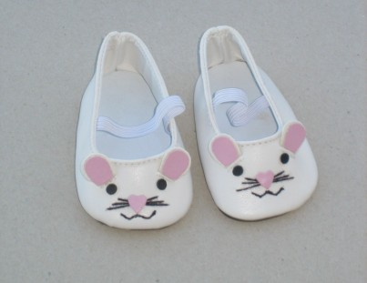 Dolls Shoes - White Mouse