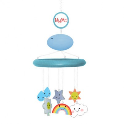 """MyMo (Pale blue with """"Spring Weather"""" theme characters) with MP3 player and voice recording/ turning unit  MyMo is a fully customisable cot mobile, designed in Britain. In short, it takes the 'traditional' cot mobile, and makes it better quality, safer, better for learning and development, longer lasting and recyclable. Here's how:  Safety  MyMo hangs from the ceiling with an adjustable chain length – which means: •The parent is constantly in control of the proximity of the mobile to their baby •Curious hands won't be able to play with the arm or pull the mobile on top of themselves •The mobile can stay in the room with your baby even when they can stand or when the cot has left •When it is hung out of reach of your baby, you'll have the peace of mind that your baby is safe  The Hanging Pieces  This mobile is one of our favourite combinations and is great for either gender.  The """"happy weather"""" theme characters include: • Cloud • Daisy • raindrops • Rainbow • Star • Happy sun  Your Music, Your Voice (MP3 Player/Voice Recorder & Mobile Turner)  MyMo's unique MP3 player, turner and voice recorder is the jewel in the crown of MyMo. It has its own design patent and enables your MyMo to do things that no other mobile has ever dreamt of doing: •Upload your own songs – no tacky, tinny repetitive tunes! •Record your voice to play to your baby – they can hear you singing, reading a book or just saying """"I love you"""" even when you're not in the room •Its rotation function circulates the mobile when and if you want it to •It has four sleep functions, meaning that you can programme it to turn itself off after 5, 10, 15 or 20 minutes.   Baby & Infant Development  MyMo has taken qualified research regarding the cognitive development of babies and infants, to design a baby mobile that maximises the learning and development potential for them. Not only is it adorably designed, but its design and adaptability allows the mobile to be modified in conjunction with your baby's development"""