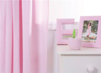 Babyface Pink Gingham Curtains