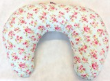 Multi Purpose Nursery & Feeding Cushion - Pink Posies on Blue for a girl - ideal baby shower gift